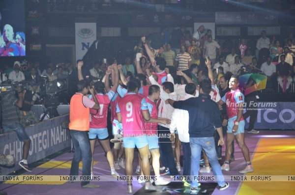 Abhishek Bachchan celebrates his win at the Pro Kabbadi League Semi Finals