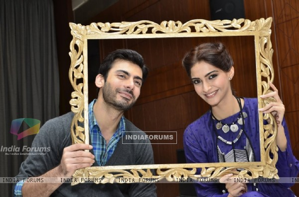 Sonam Kapoor and Fawad Khan pose for the camera at the Promotions of Khoobsurat