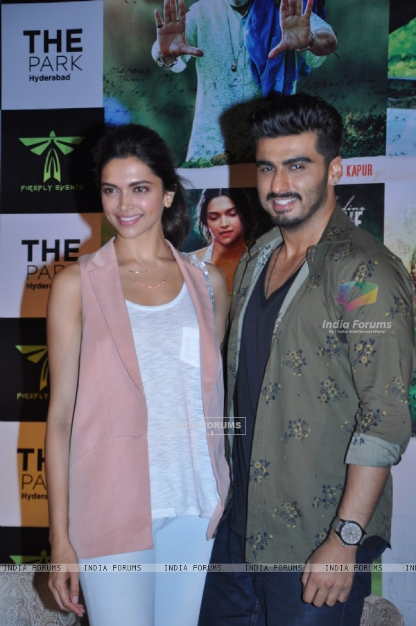 Arjun Kapoor and Deepika Padukone pose for the media at the Press Meet of Finding Fanny in Hyderabad