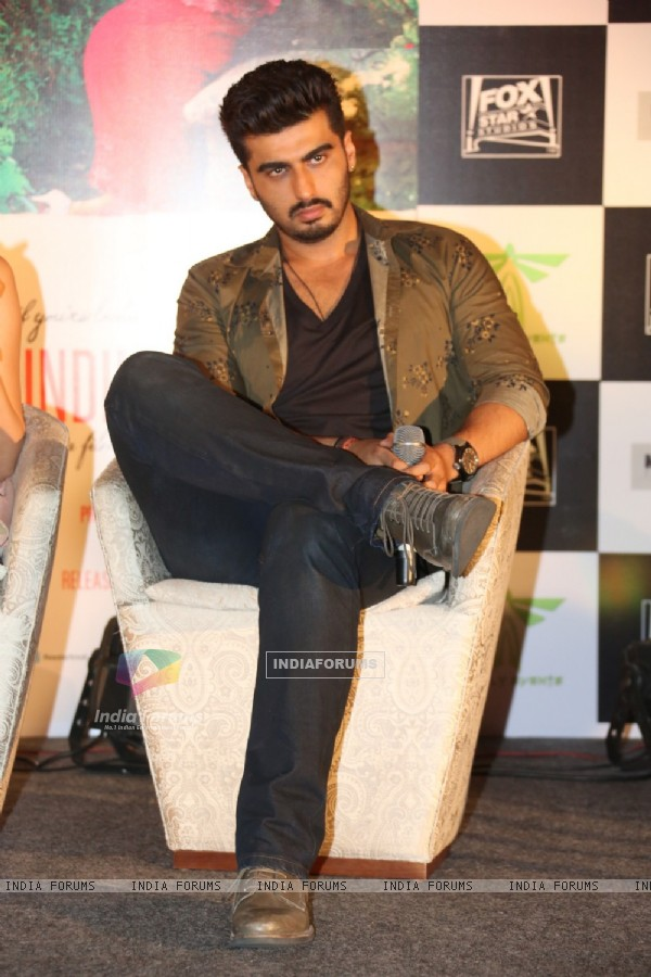 Arjun Kapoor was snapped at the Press Meet of Finding Fanny in Hyderabad