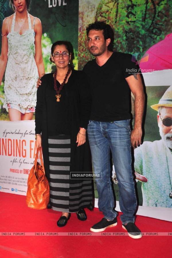 Dimple Kapadia and Homi Adajania pose for the media at the Special Screening for Finding Fanny