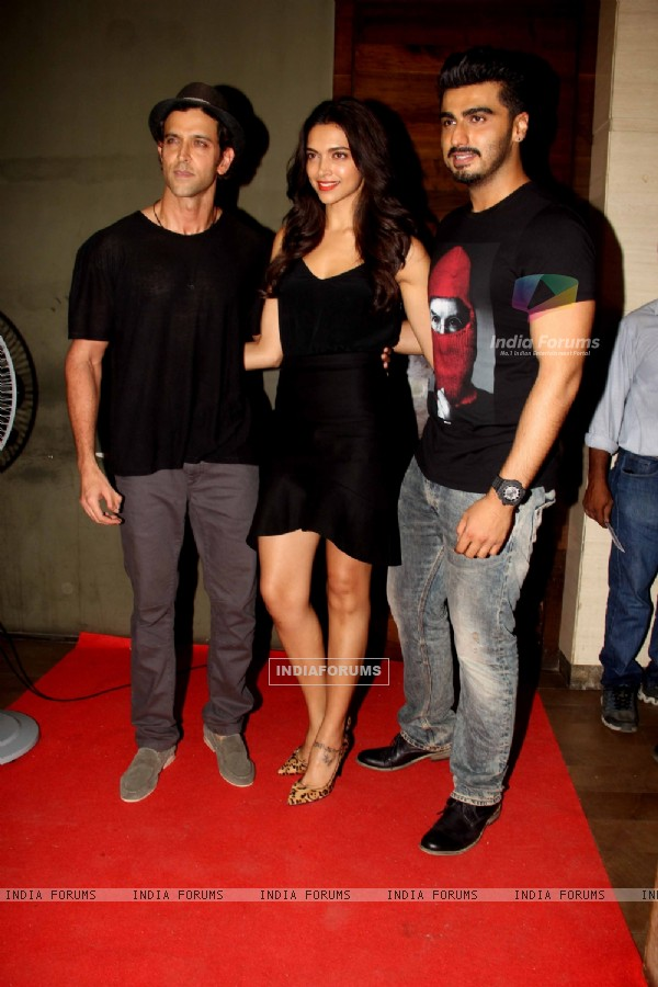 Hrithik Roshan, Arjun Kapoor and Deepika Padukone at the Special Screening for Finding Fanny