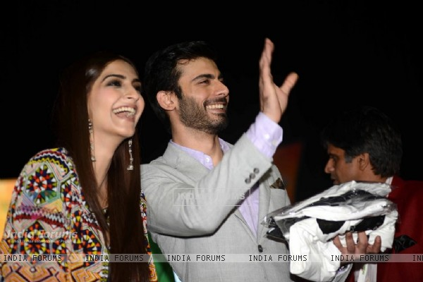 Fawad Khan waves out to his fans at the Promotions of Khoobsurat in Delhi