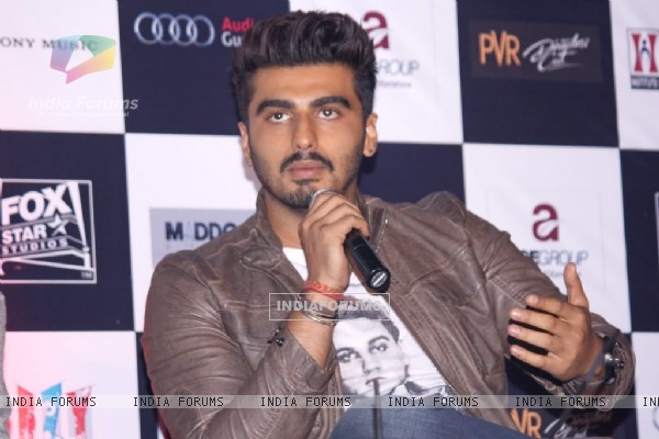 Arjun Kapoor addressing the media at the Promotions of Finding Fanny in Delhi