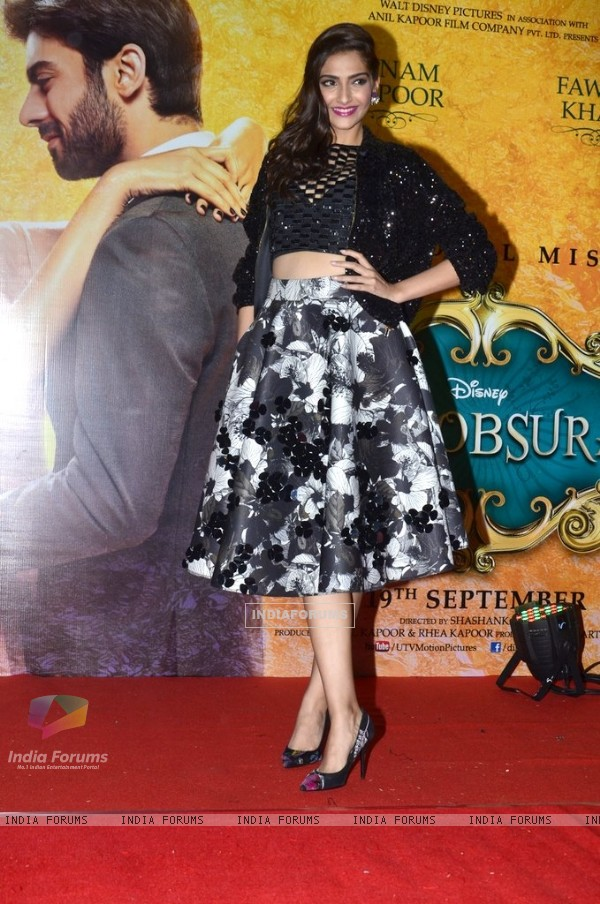 Sonam Kapoor poses for the media at the Music Launch of Khoobsurat