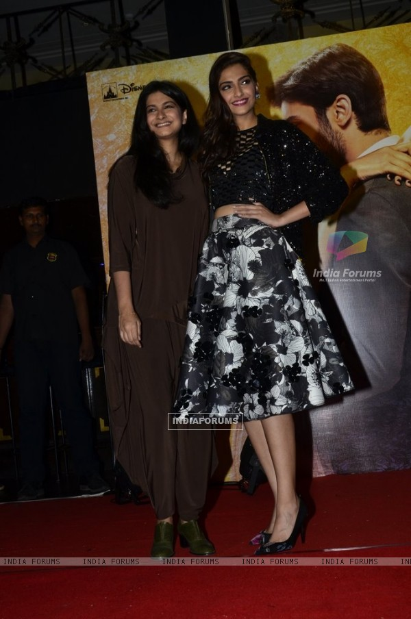 Sonam Kapoor and Rhea Kapoor pose for the media at the Music Launch of Khoobsurat