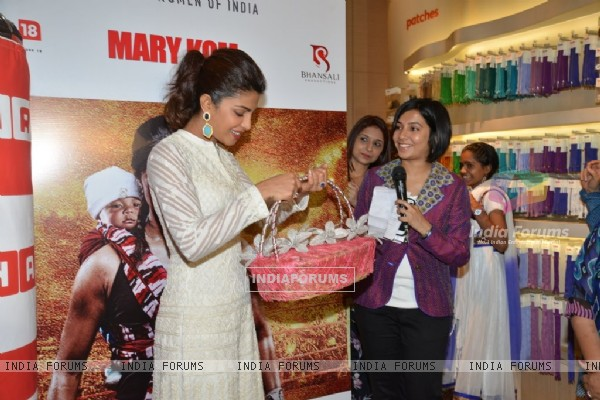 Priyanka Chopra felicitated at the Promotions of Mary Kom at Usha World