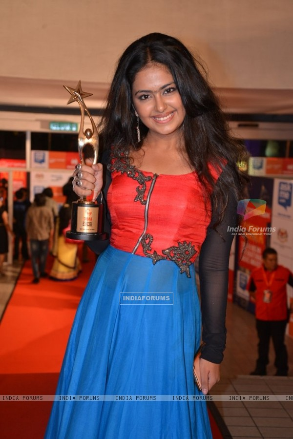 Avika Gor poses with her Trophy at Mircromax SIIMA Awards Day 1