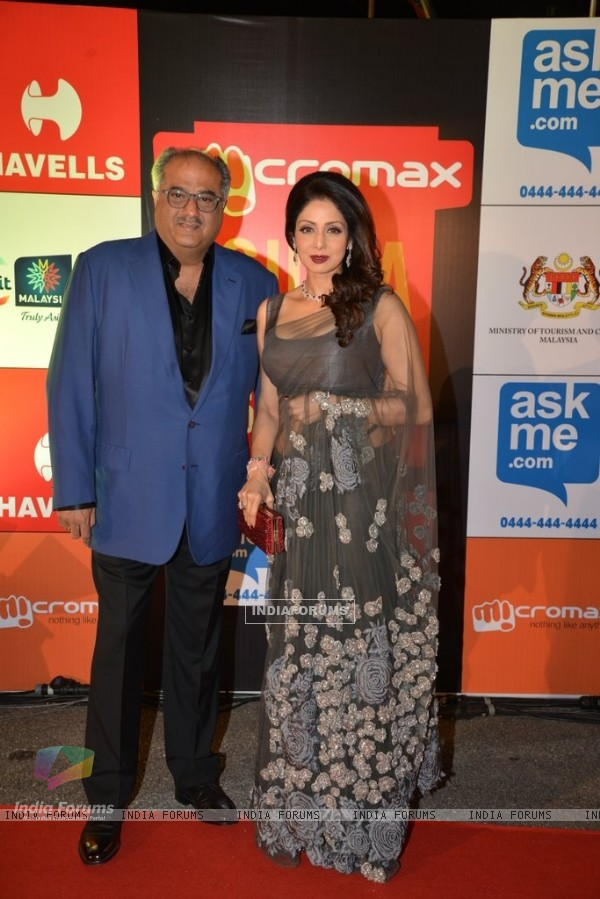Boney Kapoor and Sridevi Kapoor pose for the camera at Mircromax SIIMA Awards Day 2