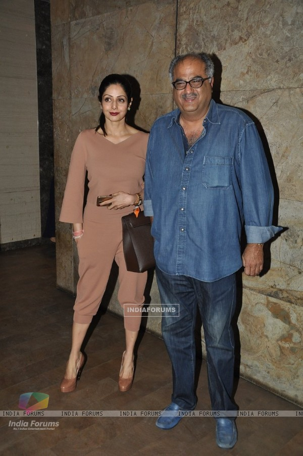 Boney Kapoor and Sridevi Kapoor pose for the camera at the Special Screening of Khoobsurat