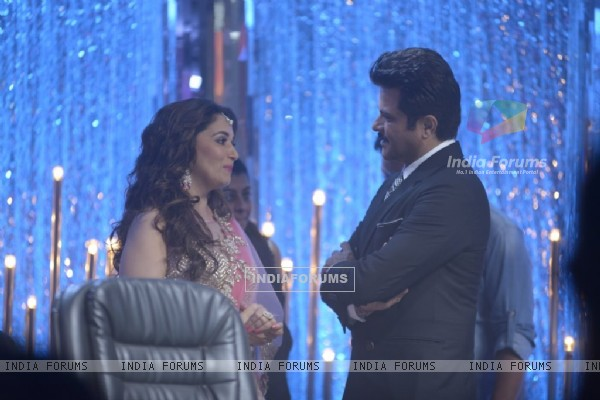 Anil Kapoor snapped with Madhuri Dixit at Jhalak Dikhhlaa Jaa Grand Finale