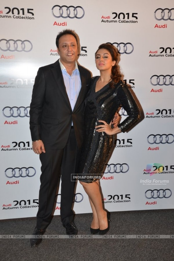 Huma Qureshi poses with Varun Bahl at his Show for Audi