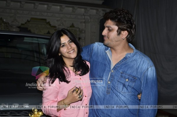 Ekta Kapoor and Mohit Suri pose for the media