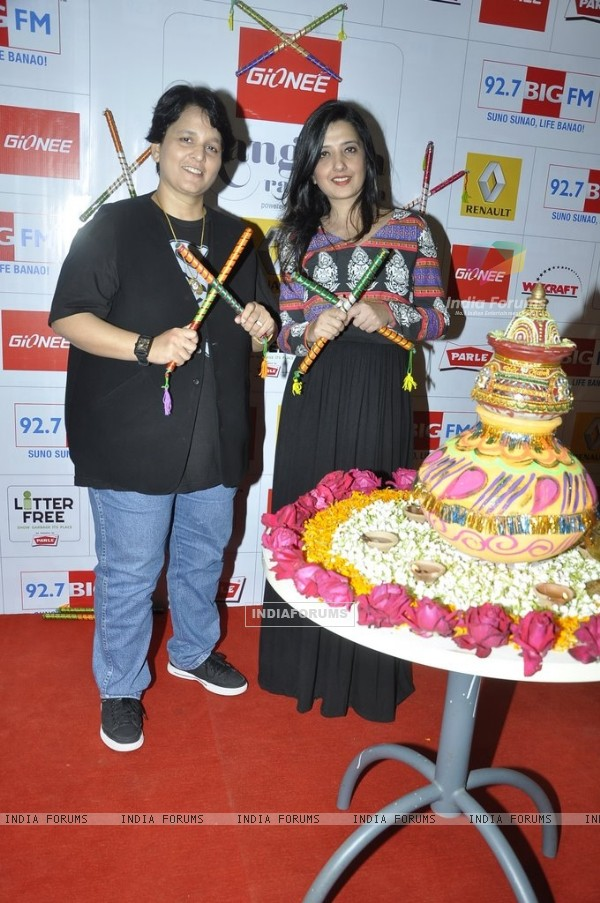 Falguni Pathak and Amy Billimoria poses for the media at Big FM Studio