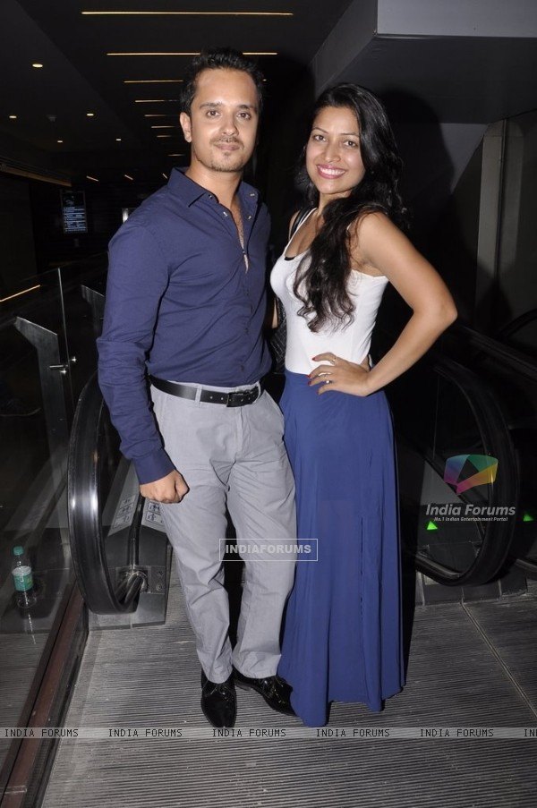 Raghav Sachar poses with his wife at the Premier of Desi Kattey