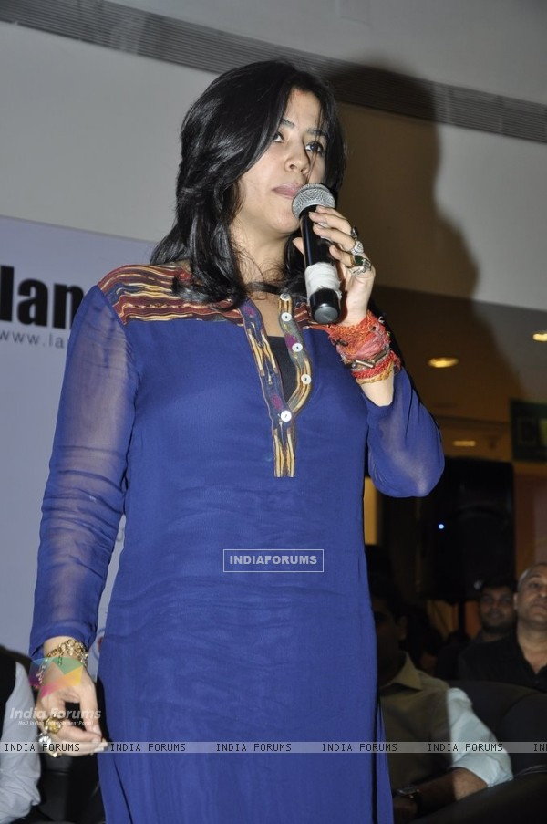 Ekta Kapoor addressing the audience at the Book Launch of Chetan Bhagat's Half Girlfriend