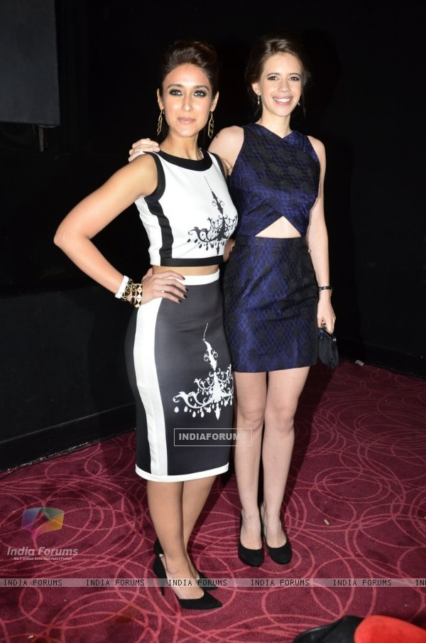 Ileana D'Cruz and Kalki Koechlin pose for the media at the Trailer Launch of Happy Ending