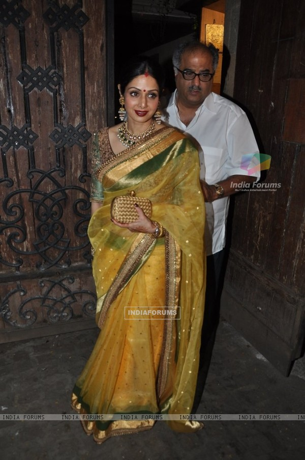 Sridevi Kapoor snapped with Boney Kapoor at Karva Chauth Celebrations