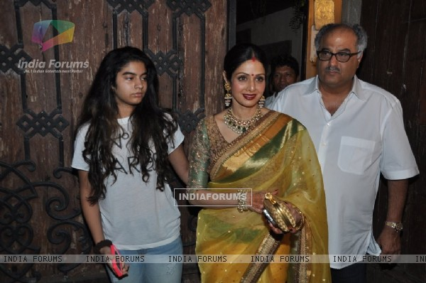 Sridevi Kapoor, Boney Kapoor and Khushi Kapoor pose for the media at Karva Chauth Celebrations