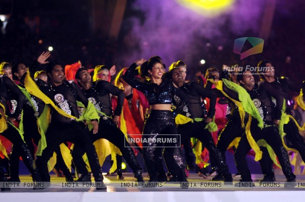 Priyanka Chopra performs at the Opening Ceremony of the Indian Super League