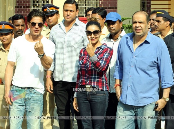 Shah Rukh Khan and Gauri Khan snapped outside their polling booth