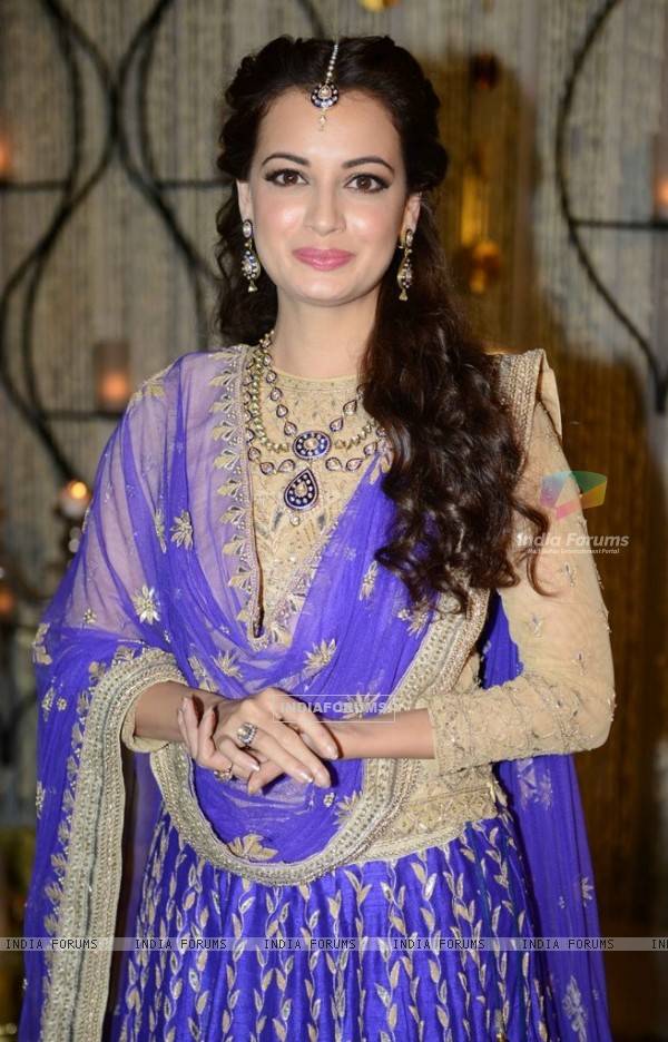 Dia Mirza poses for the media at her Sangeet Ceremony
