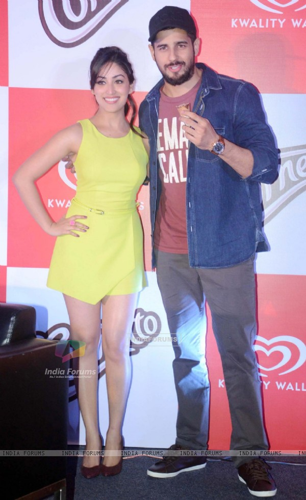 Sidharth Malhotra and Yami Gautam at Kwality Wall's Cornetto Product Promotions