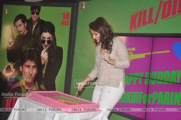Parineeti Chopra cuts her birthday cake at the Song Launch of Kill Dil