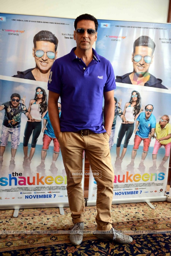 Akshay Kumar poses for the media at the Press Conference of The Shaukeens
