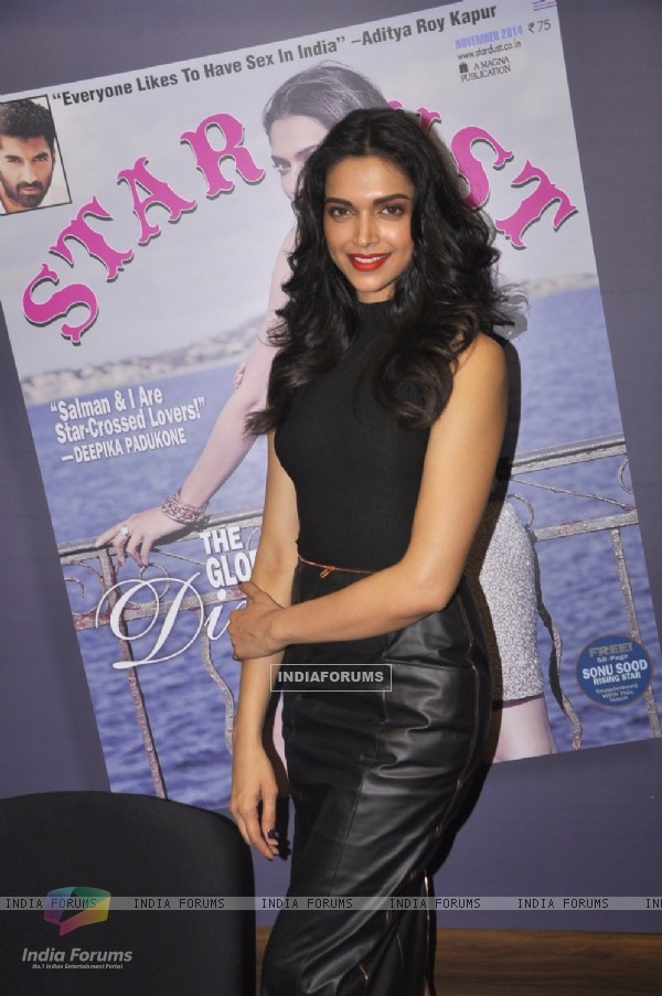 Deepika Padukone poses for the media at the Cover Launch of Stardust Magazine