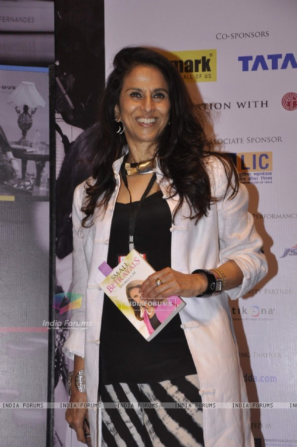 Shobha De poses for the media at Tata Lit Fest
