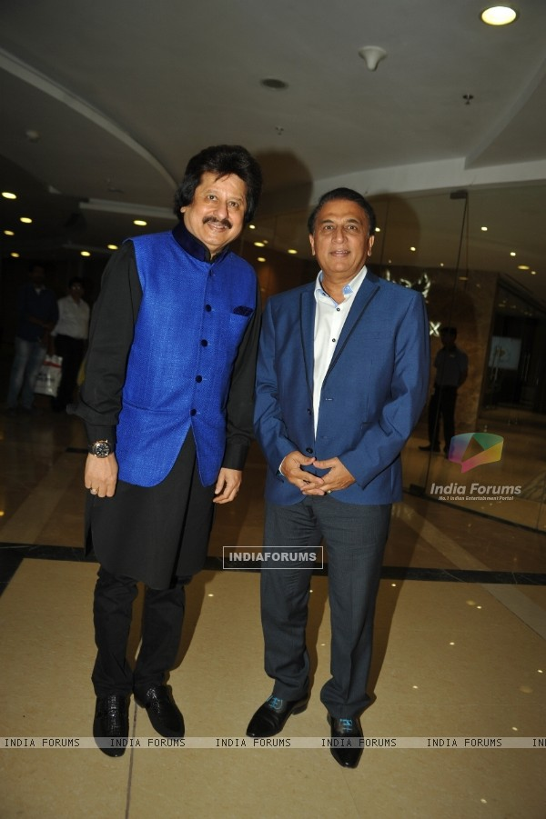 Sunil Gavaskar and Pankaj Udhas pose for the media at the Launch of Album 'Khamoshi Ki Aawaz'