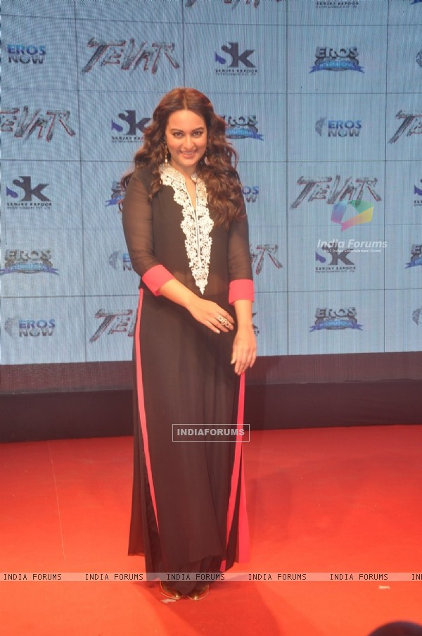 Sonakshi Sinha poses for the media at the Trailer Launch of Tevar