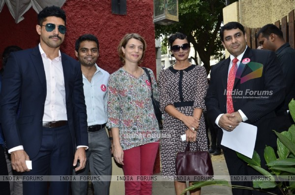 Farhan Akhtar and Adhuna Akhtar at UN WOMEN Press Meet