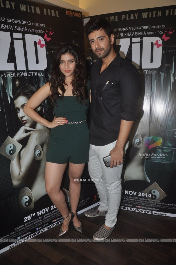 Mannara Chopra and Karanvir Sharma pose for the camera at the Media Interactions of the Movie 'ZID'