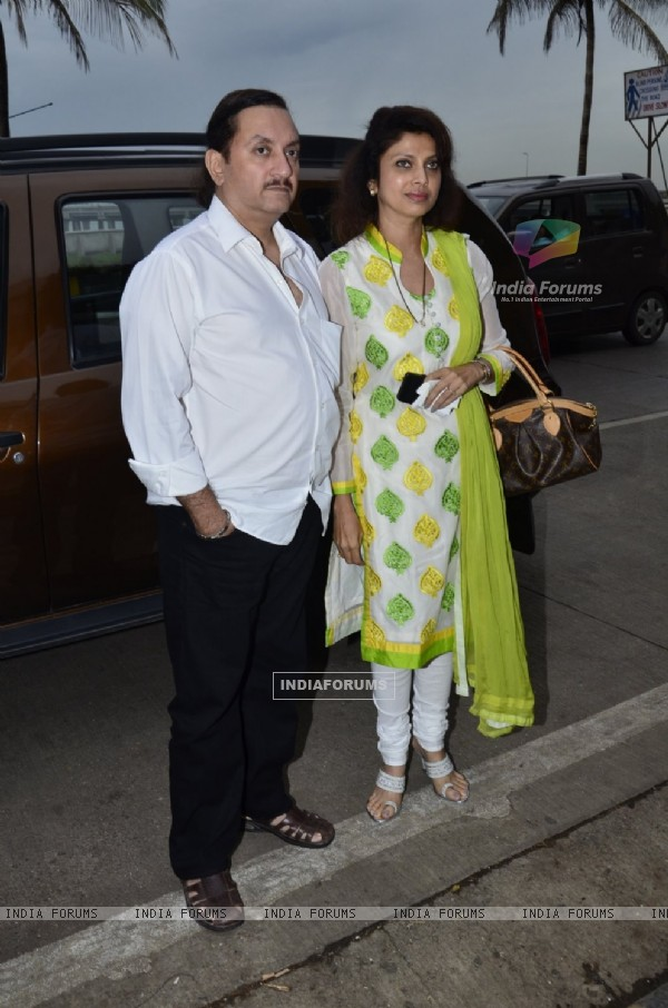Varsha Usgaonkar was snapped along with husband at the Prayer Meet of Ravi Chopra
