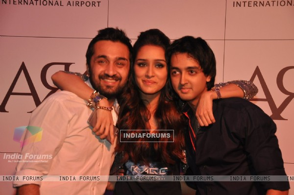 Shraddha Kapoor poses with her brother and a friend at Ark Lounge Launch