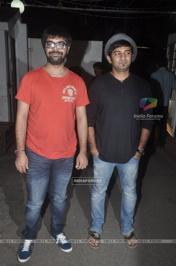 Sachin Sanghvi and Jigar Saraiya pose for the media at the Special Screening of Happy Ending