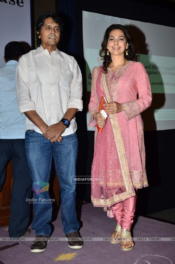 Juhi Chawla poses with a friend at the Launch of aarambhindia.org