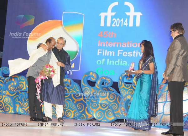 Rajinikanth felicitated at Goa Film Festival