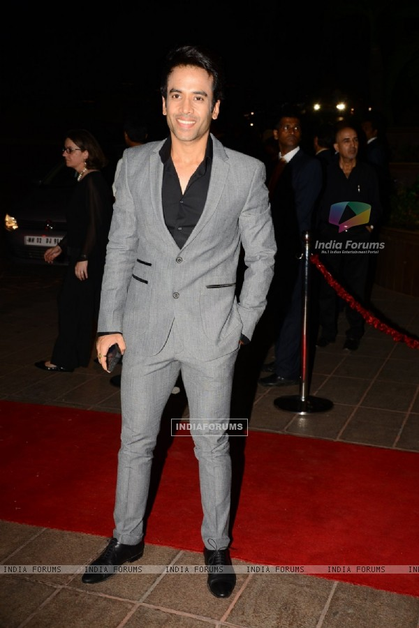 Tusshar Kapoor poses for the media at Arpita Khan's Wedding Reception
