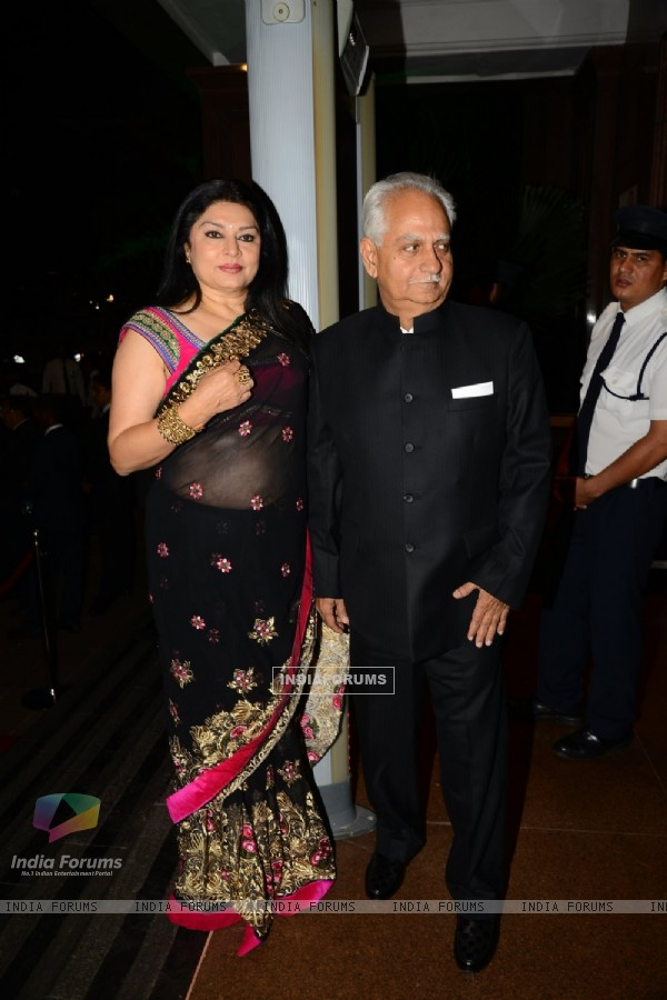 Ramesh Sippy with wife Kiran Juneja at Arpita Khan's Wedding Reception