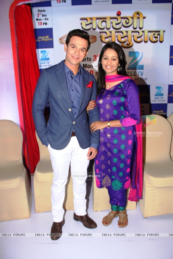 Mugdha Chaphekar and Ravish Desai pose for the media at the Launch of Satrangi Sasural