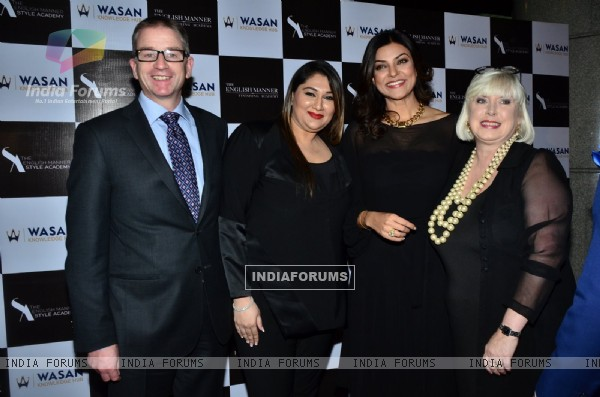 Sushmita Sen poses with Guests at Wasan Finishing School Launch