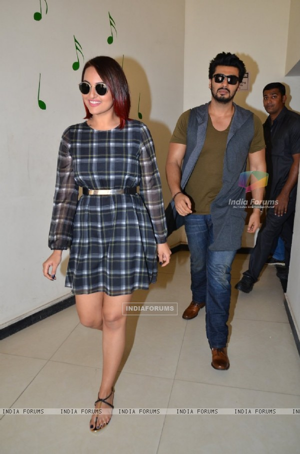 Sonakshi Sinha and Arjun Kapoor arrive at the Promotion of Tevar on Radio Mirchi 98.3 FM