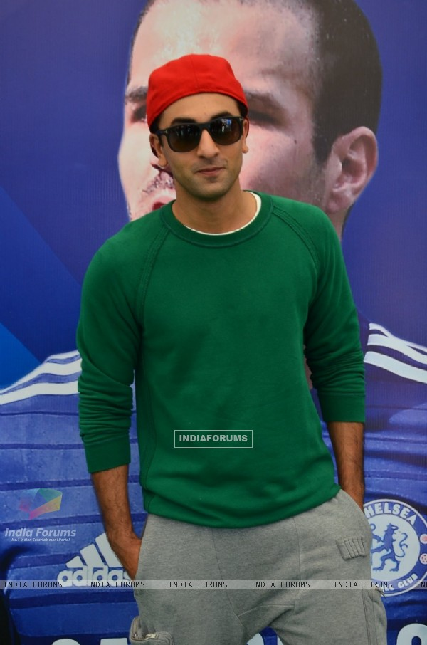 Ranbir Kapoor poses for the media at Barclays Premier League