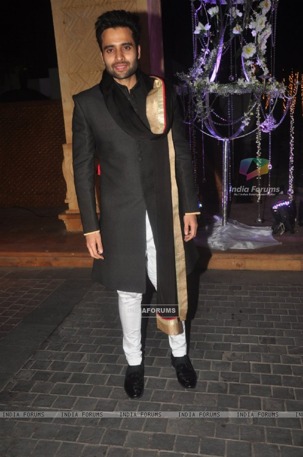Jackky Bhagnani poses for the media at the Sangeet Ceremony of Riddhi Malhotra and Tejas Talwalkar