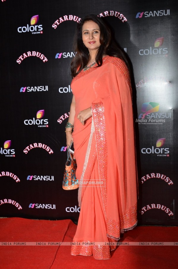 Poonam Dhillon poses for the media at Sansui Stardust Awards Red Carpet