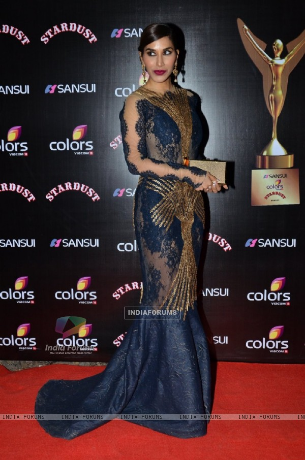 Sophie Choudry poses for the media at Sansui Stardust Awards Red Carpet
