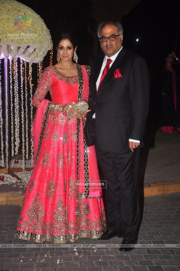 Boney Kapoor and Sridevi Kapoor pose at the Wedding Reception of Riddhi Malhotra and Tejas Talwalkar